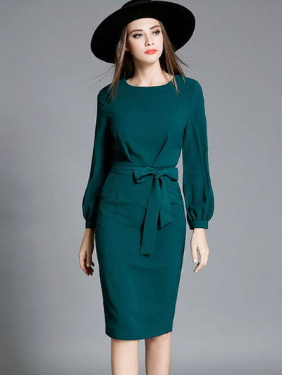 Contrast Solid Color Bowknot Zipper O-Neck Long Sleeves Midi Bodycon Dresses