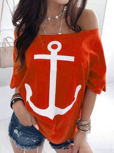 Loose off shoulder batwing printed T-shirts