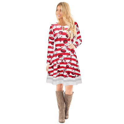 Christmas Women Long sleeve  Fioral Santa Claus Skater Dresses