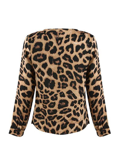 Sexy Big Leopard Printed Long Sleeve Deep V neck T-shirts