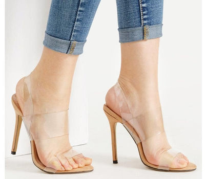 Clear Strap Stiletto Sandals - Anabella's