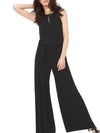 Black Crew Neck Solid Chiffon Casual Jumpsuit