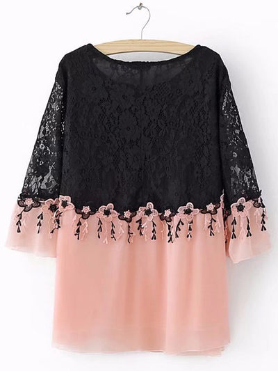 Guipure Lace Casual Bell Sleeve Blouse