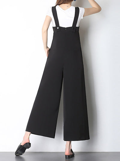 Black Plunging Neck Sheath Casual Jumpsuit