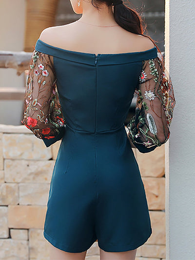 Navy Blue Printed Floral Casual Spandex Jumpsuit