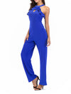 Acetate Halter Solid Jumpsuit