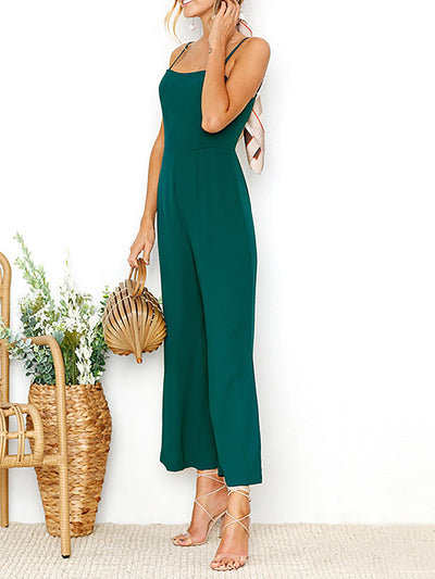 Solid Casual Washed Demin Sheath Jumpsuit