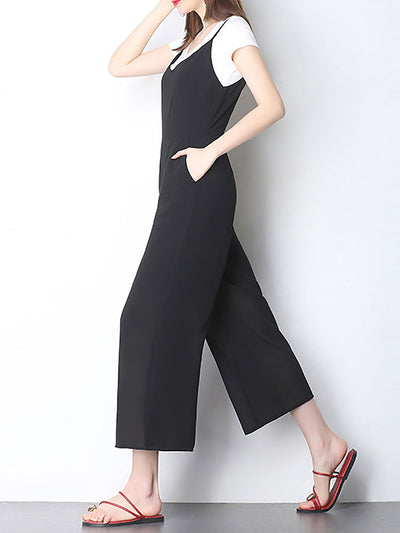 Solid Cotton Short Sleeve Casual Jumpsuit