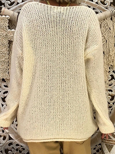 Plus Size V Neck with Gloves Knitted Irregular Long Sleeve Sweater