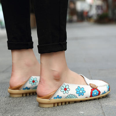 Large Size Floral Print Split Leather Casual Loafers