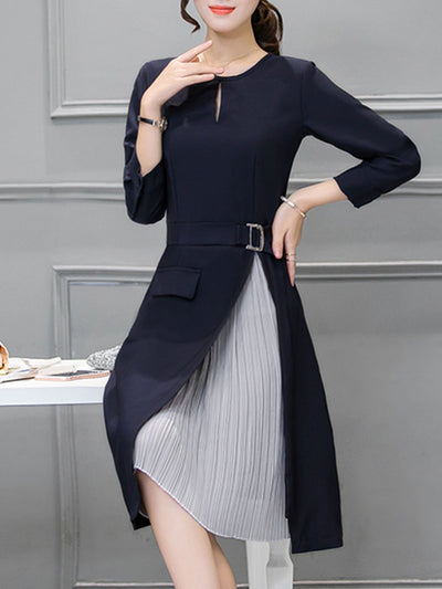 Navy Blue Crew Neck Paneled Pleated Elegant Dress