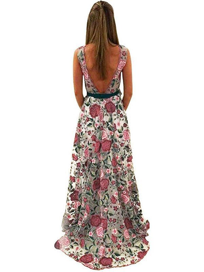 Floral Embroidery Sleeveless Maxi Dress Evening Dress