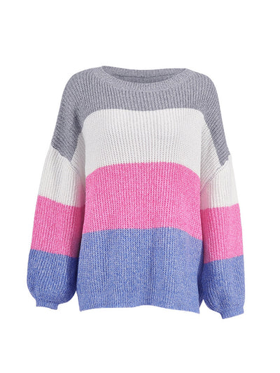 Color Stripe Woman Long Sleeve Loose Sweater