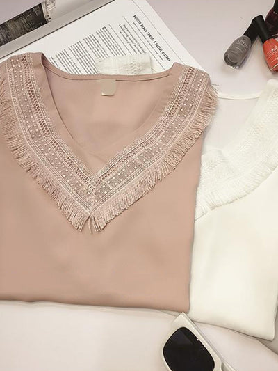 Frill Sleeve V Neck Paneled Plain Girly Plus Size Chiffon Blouse
