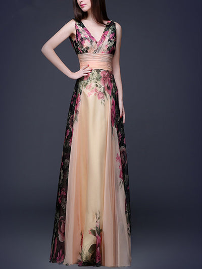 Flory Elegant V Neck Sexy Woman Evening Dresses