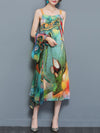 Woman Green 3/4 Sleeve Two Piece Chiffon Vintage Dress