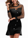 Woman Sexy Knitting Splice Long Sleeve Bodycon Dresses