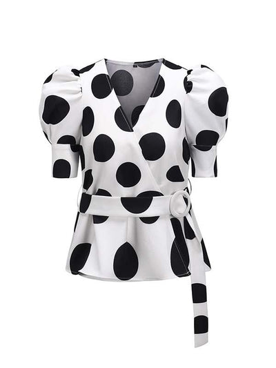 Slim Wave Dot puffed sleeves short sleeve Blouses