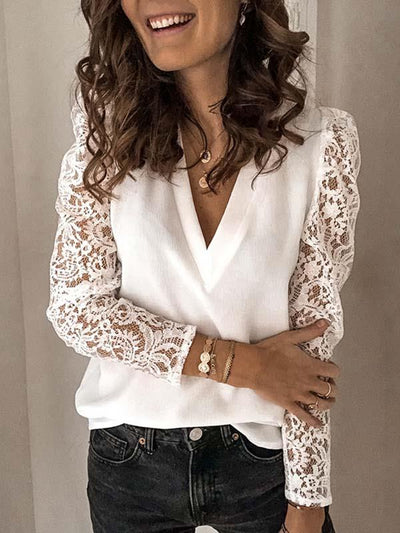 V neck fashion lace long sleeve slim T-shirts