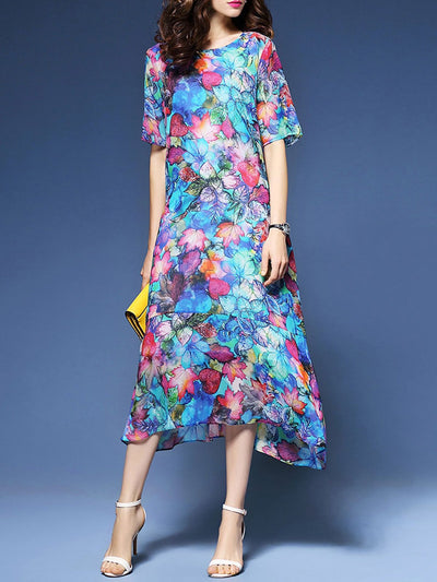 Casual Short Sleeve Crew Neck Floral Printed Dress