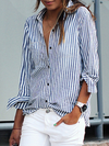 Shirt Collar Buttoned Long Sleeve Plus Size Woman Blouses