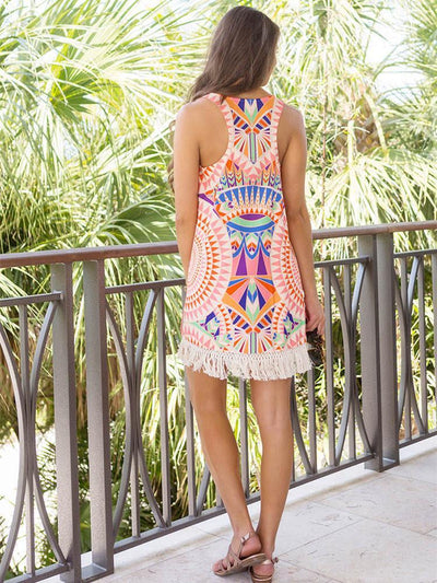 Floral Printed Tassel Trimmed Round Neck Mini Dress