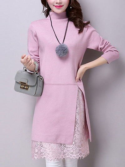 More Colors Woman Knit High Collar Shift Dresses