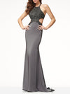 Halter Neck Backless Floor Evening Dress