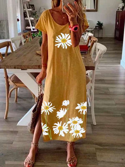Yellow Vintage Short Sleeve Summer Maxi Dresses