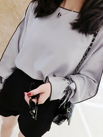 H-line Bow Chiffon Girly Frill Sleeve Blouse