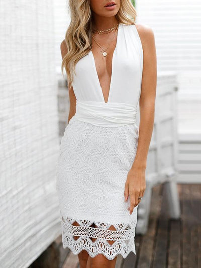 Deep V-neck Backless Condole Belt Mini Dress
