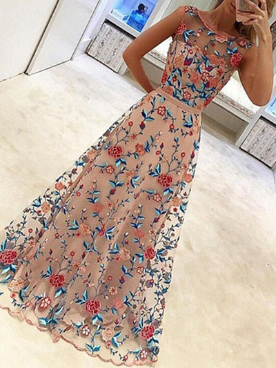 New Elegant Embroidery Printed Sleeveless Expansion Evening Dress