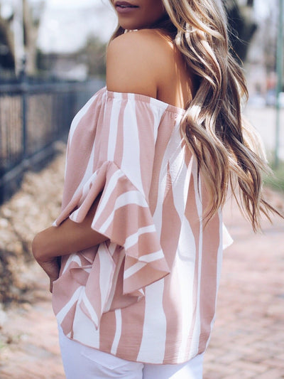Pink Frill Sleeve Printed Blouses &amp