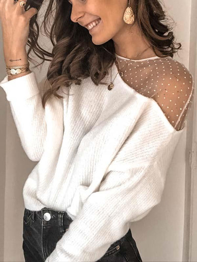 Round neck lace long sleeve T-shirts