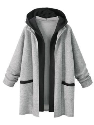 Simple Style Woman Long Hooded Coats