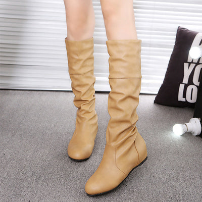 Woman Plain Wrinkled High Boots