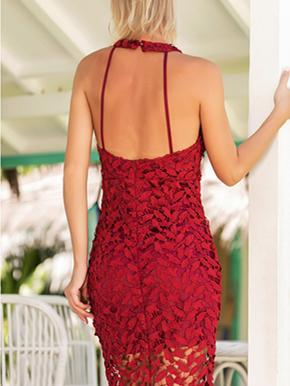 Lace Hollow Halterneck Backless Mini Dress