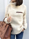 High Collar Zip Plain Tops Sweatshirts