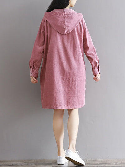 Buttoned Long Sleeve Casual Hoodie Dress