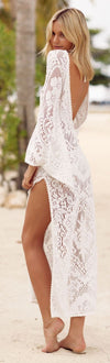 Fashion V Collar Sexy Halter Split Lace Vacation Dress