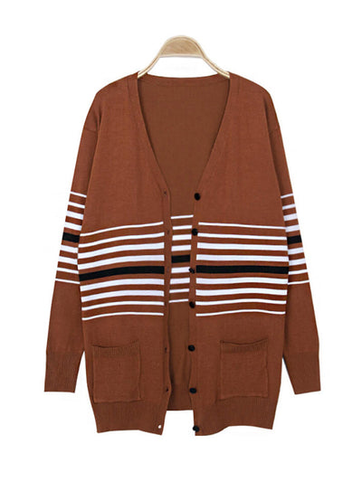 Brown Stripe Knitted Woman Cardigan Coats