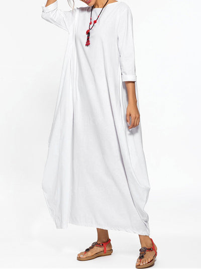 Solid Crew Neck Casual Cocoon Maxi Dress