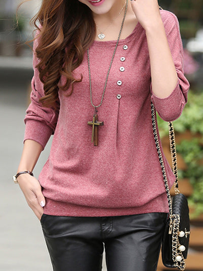 Casual Buttoned Crew Neck Plain T-Shirt