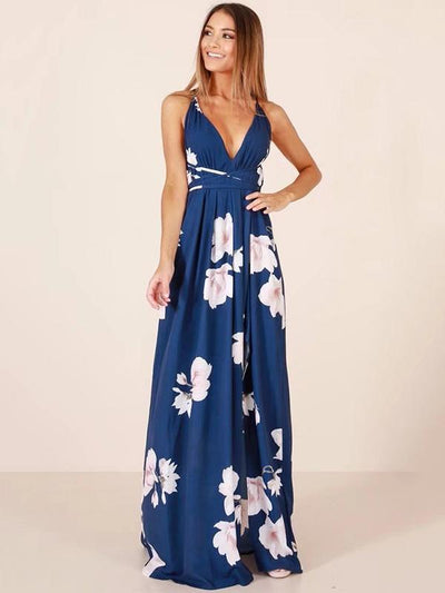 Floral V-Neck Backless Maxi Dresses