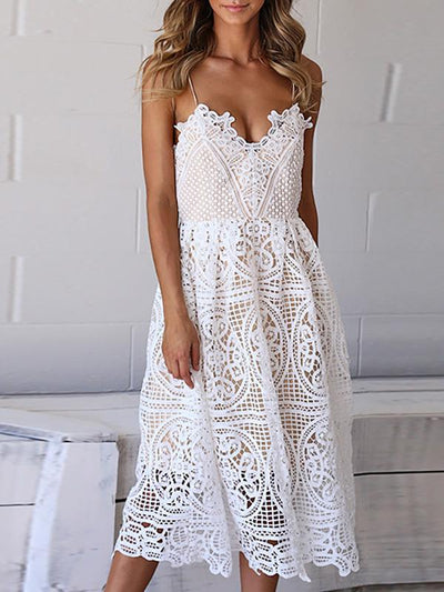 Hollow Spaghetti-neck V Neck Midi Dresses