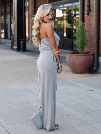 Loose Spaghetti-neck Wide Leg Long Jumpsuits