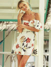 FLORAL PRINTED FALBALA CONDOLE BELT DRESS