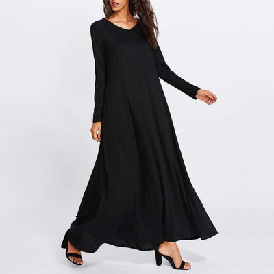 Fashion Pure V neck Long sleeve Maxi Dresses
