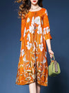 Orange Satin Floral Elegant Asymmetrical Plus Size Dress