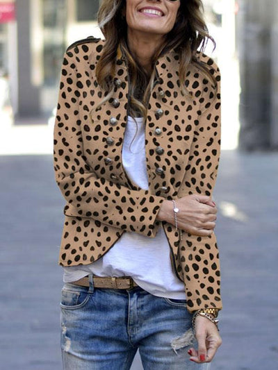 Women Button Stand collar long sleeve casaul blazer coats